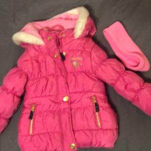 Pink coat with matching headband